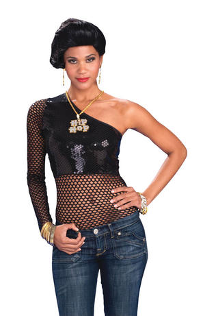 Womens Black Mesh Sequin Top Fancy Dress Costume Punk Rocker Gothic Outfit