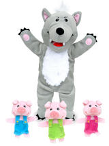 Big Bad Wolf & 3 Little Pigs Hand & Finger Puppet Theatre Kit Set Story Time