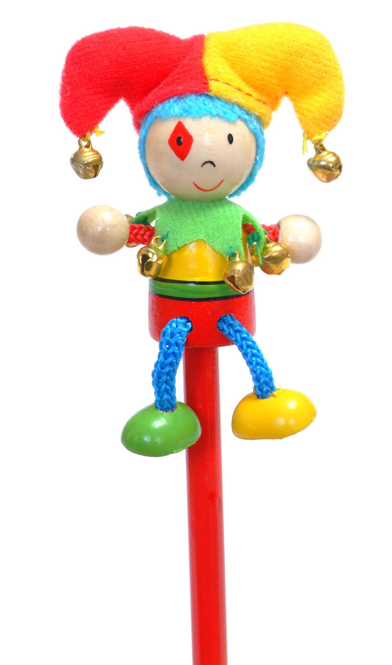 Hand Painted Jester Character Pencil & Topper Set Party Bags & Stocking Filler