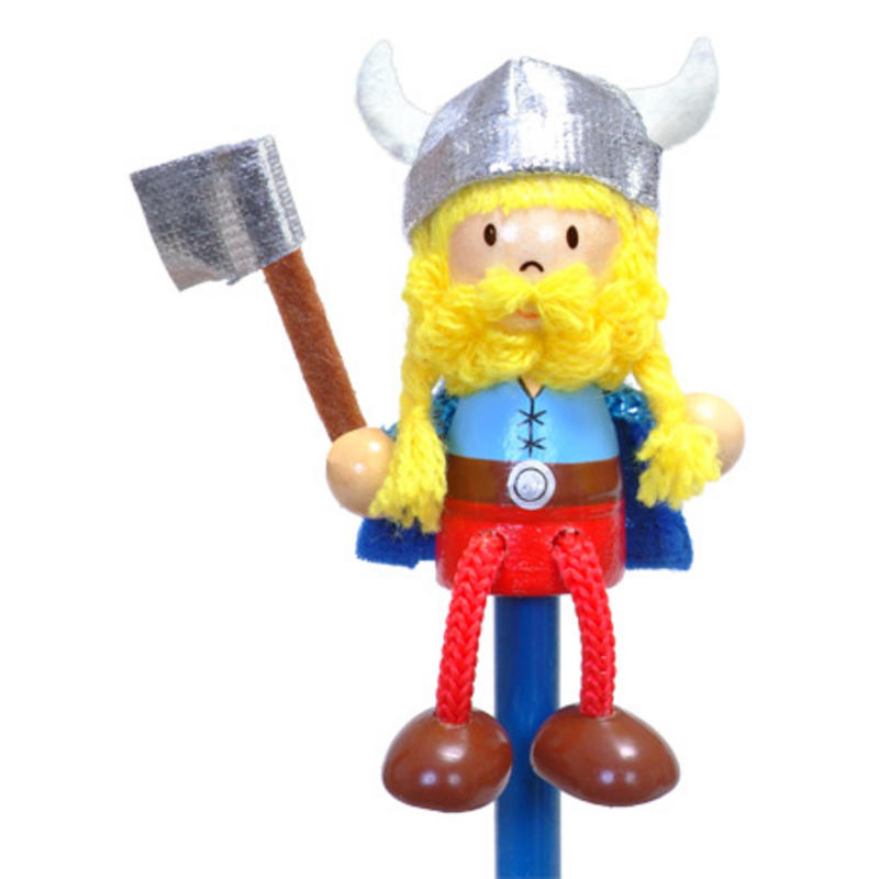Hand Painted Viking Character Pencil & Topper Set Party Bags & Stocking Filler
