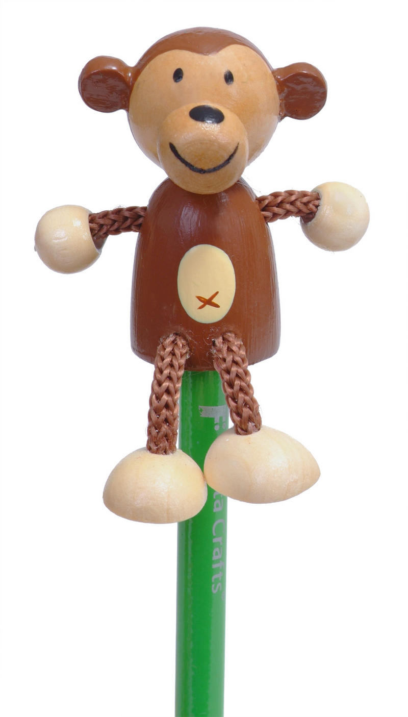 Hand Painted Monkey Character Pencil & Topper Set Party Bags & Stocking Filler