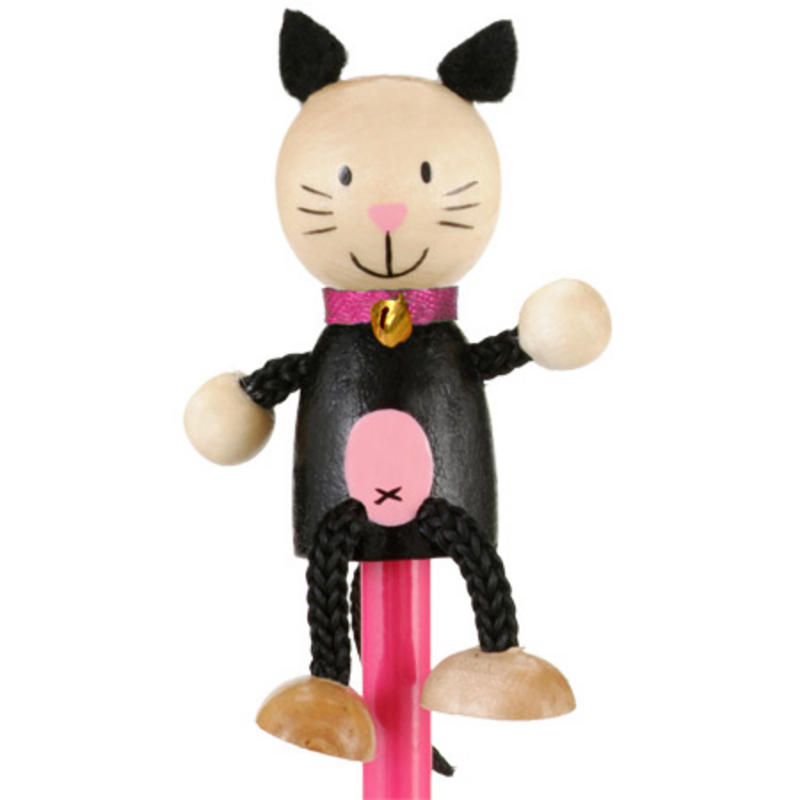 Cat Hand Painted Character Pencil & Topper Set Party Bag Gift