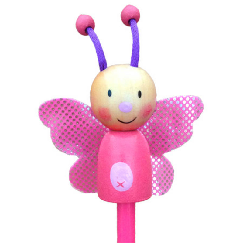 Butterfly Hand Painted Character Pencil & Topper Set Party Bag Gift