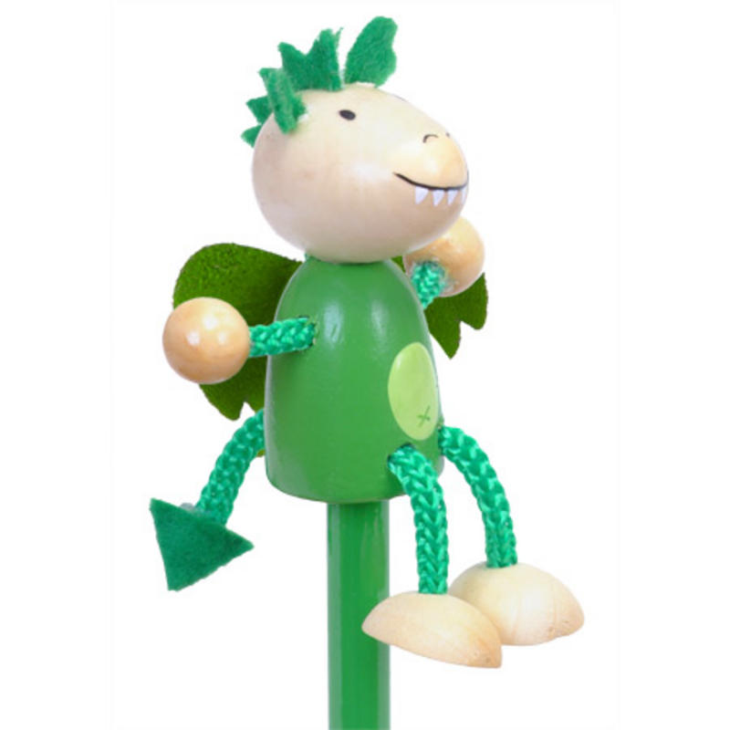 Green Dragon Hand Painted Character Pencil & Topper Set Party Bag Gift