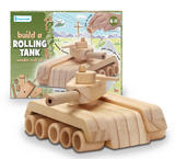 Wooden Model Kit Build A Rolling Tank - 21cm x 15cm - 33 Piece Set