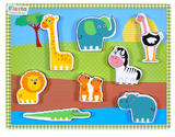 Childrens Chunky Wooden Zoo Animal Puzzle 9 Pieces - Age 1+ by Fiesta Crafts