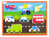 Childrens Chunky Wooden Vehicles Cars Puzzle 9 Pieces - Age 1+ by Fiesta Crafts