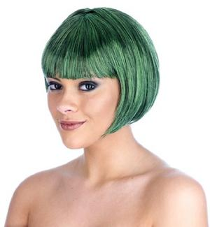 Adult Dark Green Bob Wig Disco Diva Party Girl Fancy Dress Costume Accessory