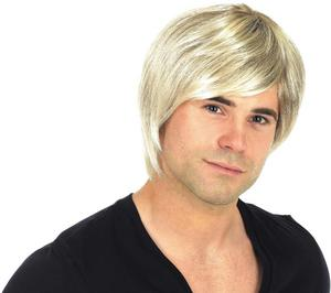 Adult Blonde Boyband Wig Popstar Teenager Fancy Dress Costume Accessory