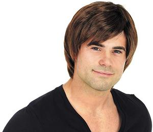Adult Brown Boyband Wig Popstar Teenager Fancy Dress Costume Accessory