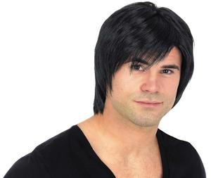 Adult Black Boyband Wig Popstar Teenager Fancy Dress Costume Accessory