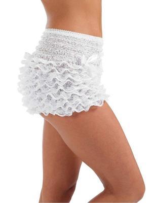 Ladies Frilly Ruffle Rumba Panties White 1950s Burlesque Lingerie Hot Pants