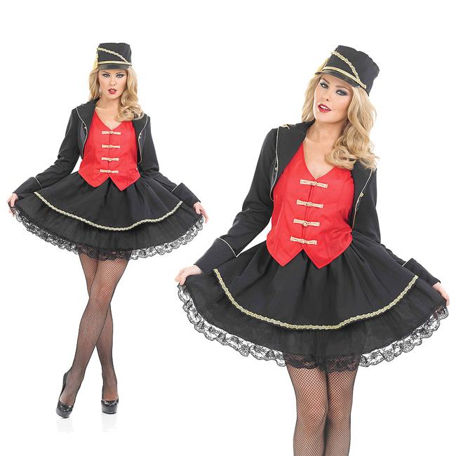Ladies Drum Majorette Fancy Dress Costume Toy Soldier Marching Band XXXL