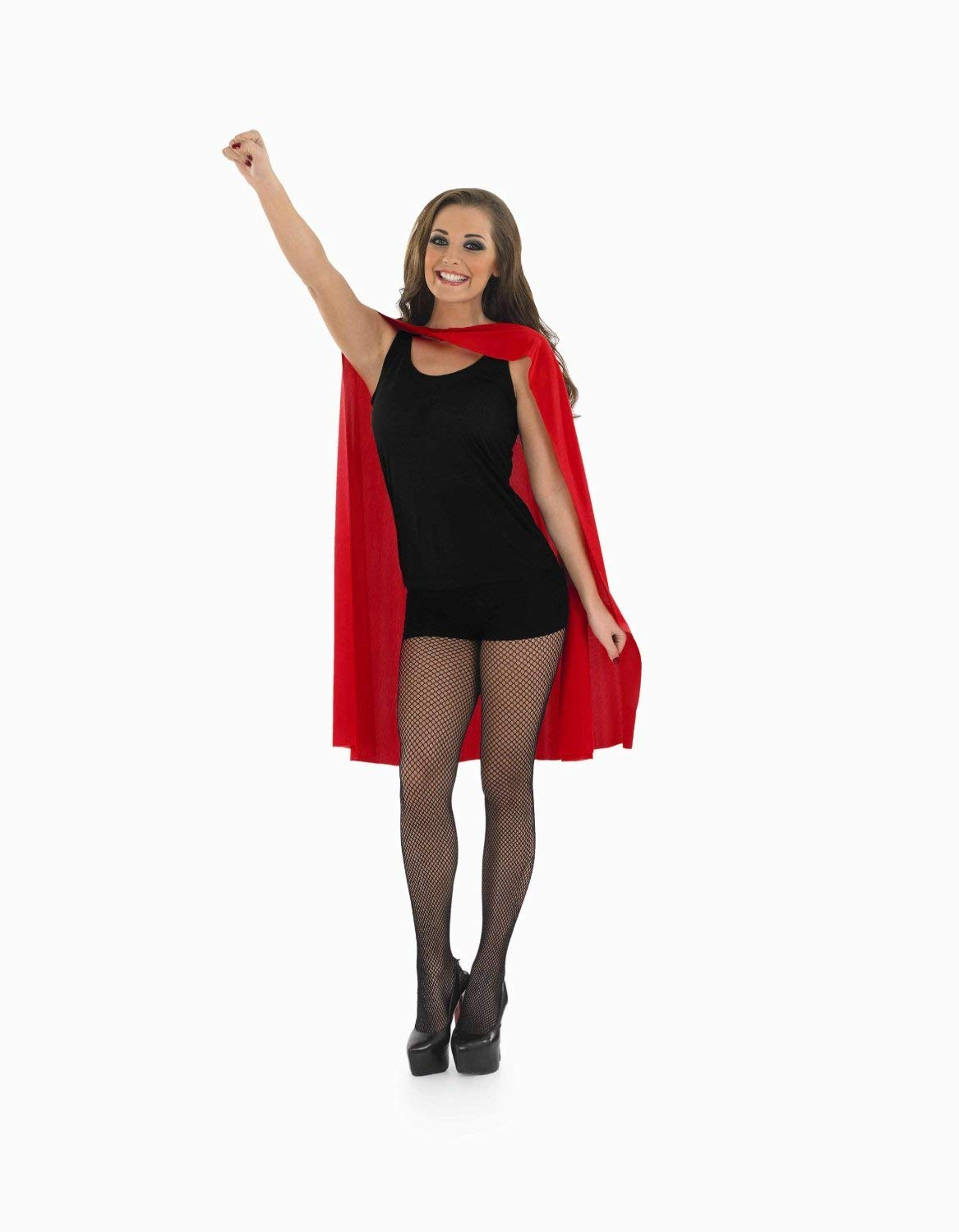Ladies Red Superhero Cape Fancy Dress Costume Comic Hero Devil Halloween Outfit