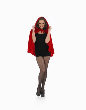 Ladies Red Riding Hood Cape Fancy Dress Costume Halloween Devil Outfit