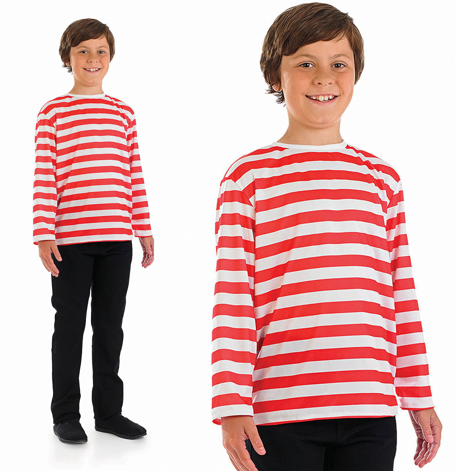 Childrens-Red-amp-White-Stripe-Jumper-Fancy-Dress-Costume-Book-Week-4-12-Yrs