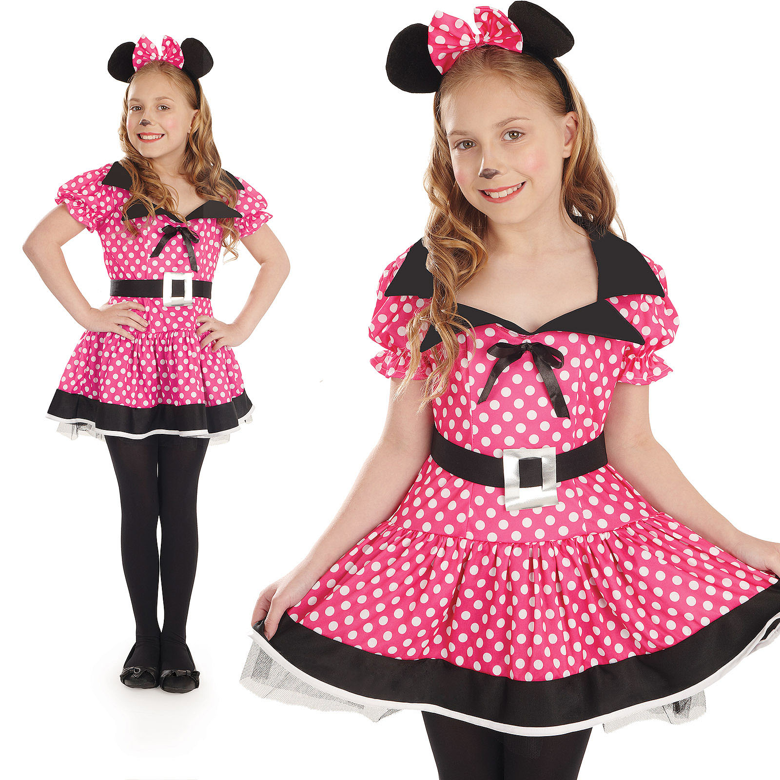 Childrens-Minnie-Mouse-Fancy-Dress-Costume-Disney-Kids-Girls-Outfit-4-12-Yrs thumbnail 3