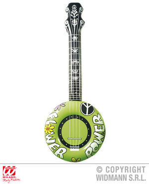 Green Inflatable Banjo 100Cm Hippy 1970S Fancy Dress Costume Accessory
