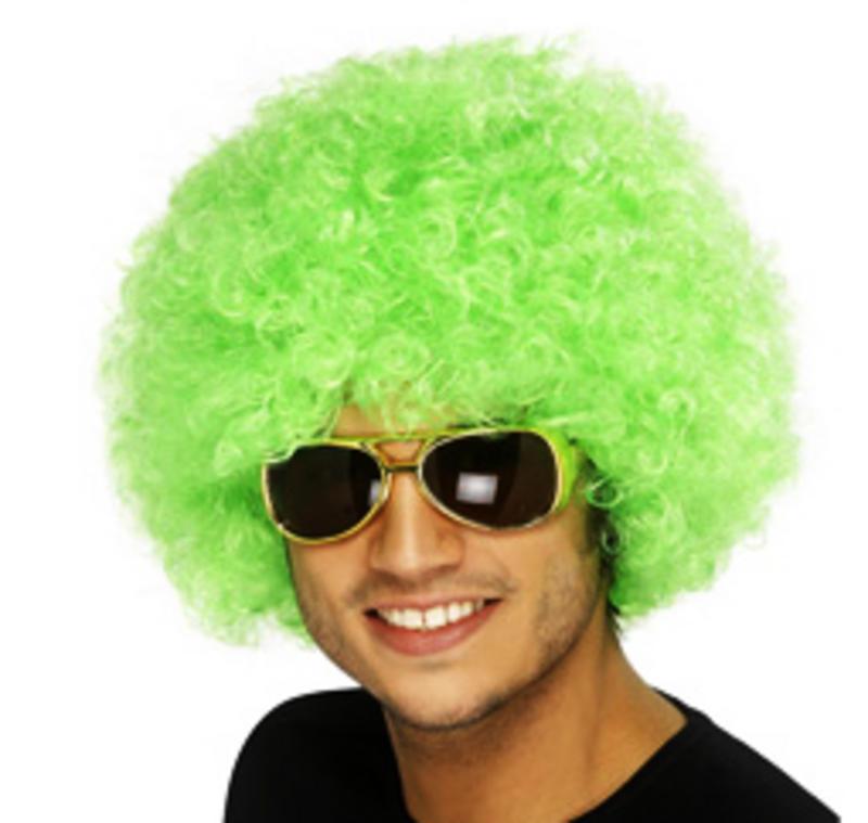 Neon Green Afro Wig 70'S Retro Disco Diva Clown Halloween Festival Fancy Dress