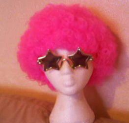Neon Pink Afro Wig 70'S Retro Disco Diva Clown Halloween Festival Fancy Dress