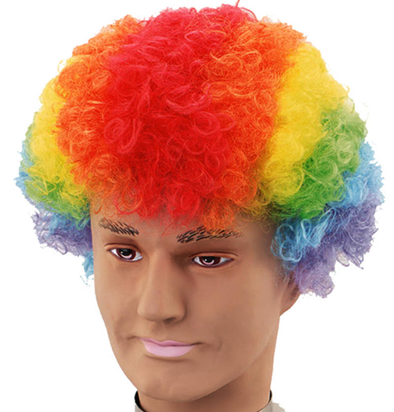 Rainbow Afro Wig Clown Fancy Dress Unisex