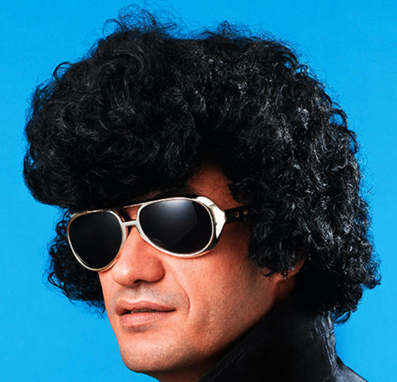 Black Elvis Wig With High Quiff Teddy Boy Danny Zuko Grease Fancy ... 7631d8e77de8