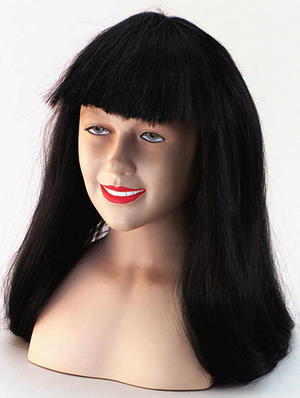 "24"" Long Black Wig With Fringe Ladies Halloween Fancy Dress"