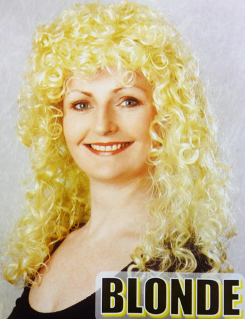 Long Blonde Curly Perm Wig Fancy Dress
