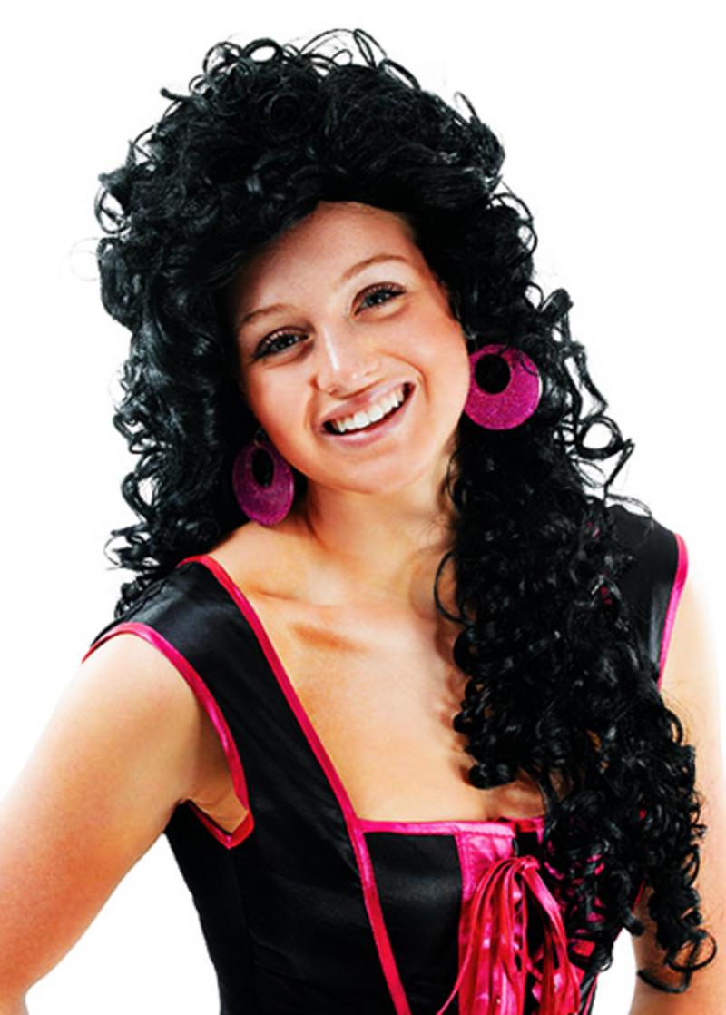 Long Black Wig Wavey Curls Fancy Dress Hair