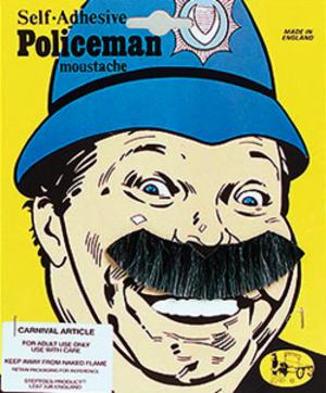 Grey Black Moustache Police Man Copper Fancy Dress