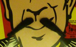 2 Piece Black Moustache Spiv French Waiter Artisit Fancy Dress