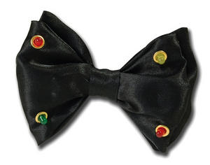 Black Flashing Bow Tie Circus Clown Magician Dicky Bow Novelty Fancy Dress