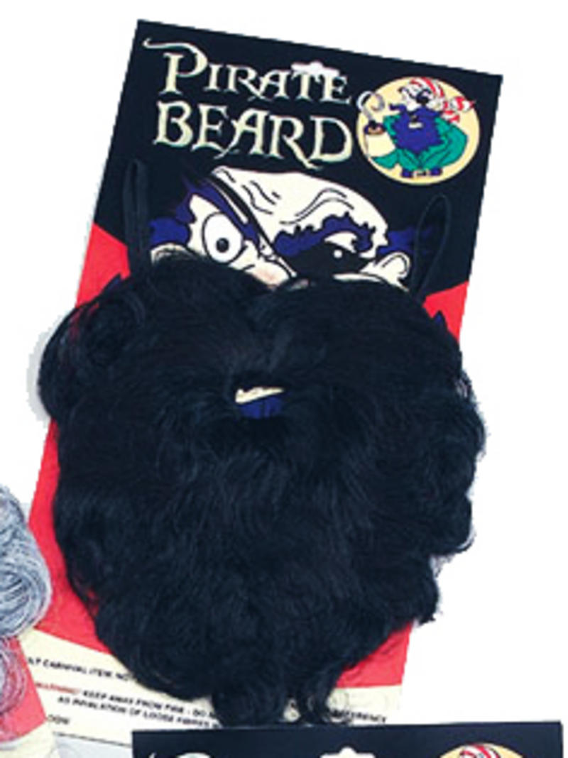 Large Black Wavy Beard Pirate Captain Sailor Party Fancy Dress