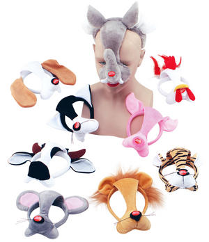 Zoo Animal Face Mask on Headband & Sound For Fancy Dress Costume Outfit Party