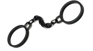Black Rubber Shackles Handcuffs Halloween Fancy Dress
