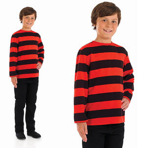 Childrens Black & Red Stripe Top Dennis Book Week Fancy Dress Costume 4-12 Yrs