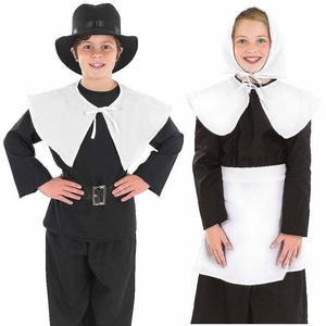 Childrens Puritan Boy Girl Fancy Dress Costume Amish Pilgrim Outfit 4-12 Yrs