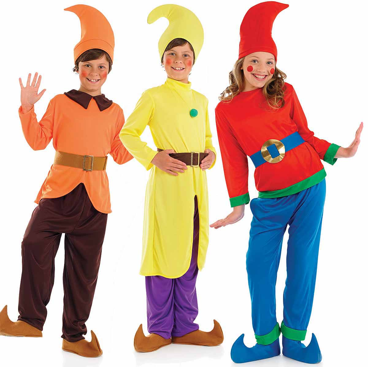 Childrens Dwarf Fancy Dress Costumes Wizard Of Oz Snow White Outfit 4-12 Yrs