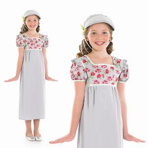 Childrens Regency Girl Fancy Dress Costume Jane Austin Book Week Outfit 4-12 Yrs