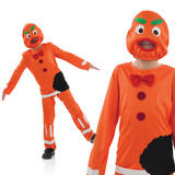 Kids Gingerbread Man Halloween Costume Childrens Boys Book Week Outfit 4-12 Yrs
