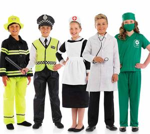 Childrens Occupations Day Fancy Dress Costume Kids Outfit Job Role Play 4-12 Yrs