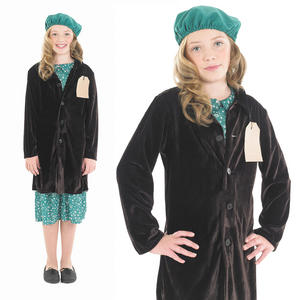 Childrens Girl With Coat Fancy Dress Costume War Time Outfit 6-12 Yrs