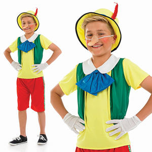 Childrens Fairy Tale Puppet Boy Fancy Dress Costume Pinocchio Outfit 4-12 Yrs