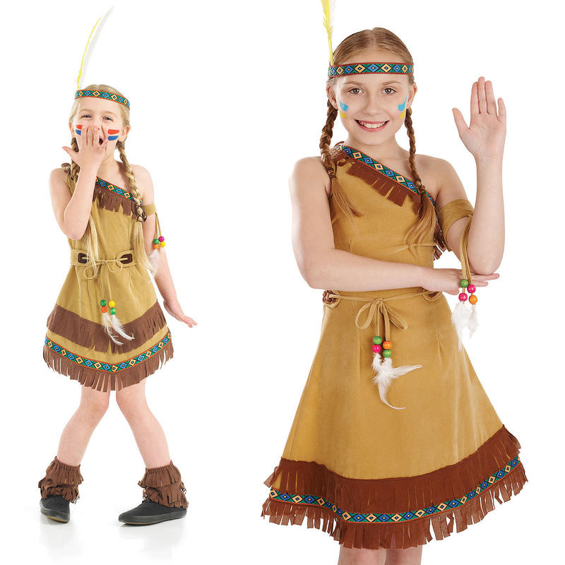 894f57fe41 Childrens Indian Squaw Girl Fancy Dress Costume Red Pocahontas ...