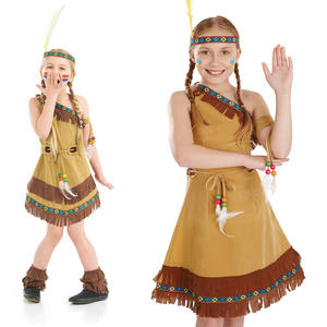 Childrens Indian Squaw Girl Fancy Dress Costume Red Pocahontas Outfit 4-12 Yrs