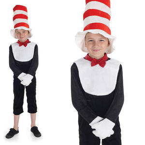 Childrens Mr Tom Fancy Dress Costume Cat In The Hat Book Week Outfit 4-12 Yrs