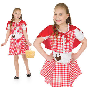 Childrens Deluxe Little Red Riding Hood Fancy Dress Costume Kids Outfit 4-12 Yrs