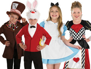Childrens Alice In Wonderland Fancy Dress Costumes Role Play Outfit 4-12 Yrs