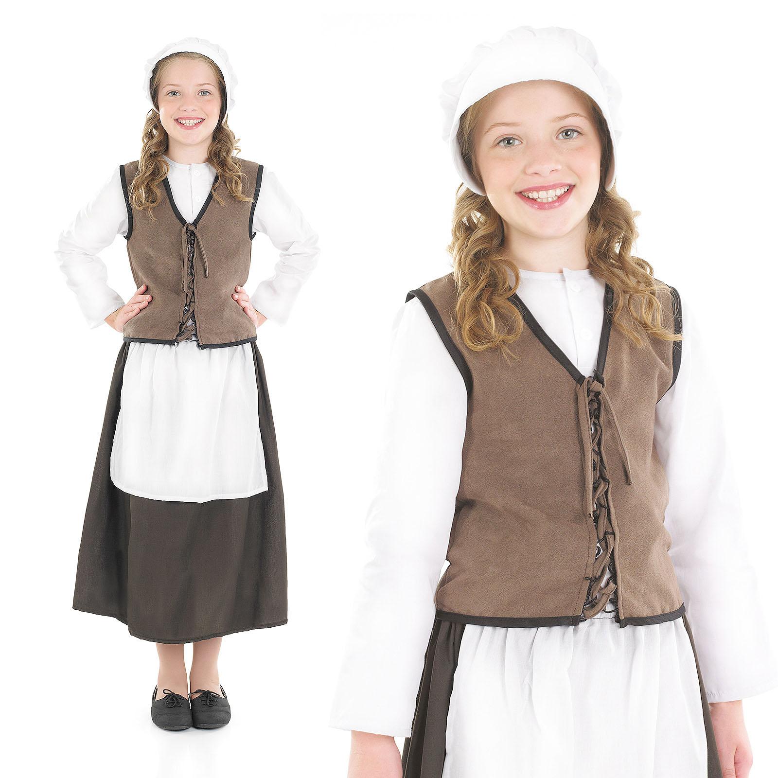 Childrens Tudor Kitchen Girl Fancy Dress Costume Victorian Maid ...
