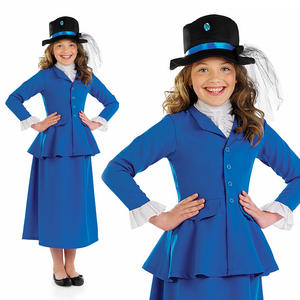 Childrens Blue Mary Poppins Fancy Dress Costume Nanny Mcphee Outfit 4-12 Yrs
